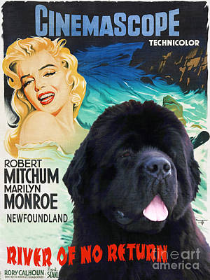 Painting - Newfoundland Art Canvas Print - River Of No Return Movie Poster by Sandra Sij
