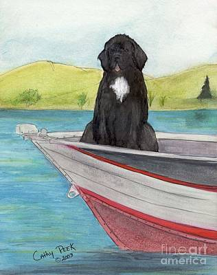 Newfie Painting - Newfoundland Dog Boat Cathy Peek Animal Art by Cathy Peek