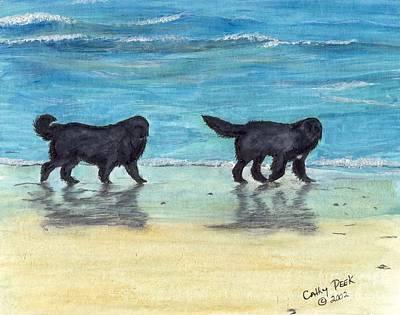 Newfie Painting - Newfoundland Dogs Beach Walk Cathy Peek Art by Cathy Peek