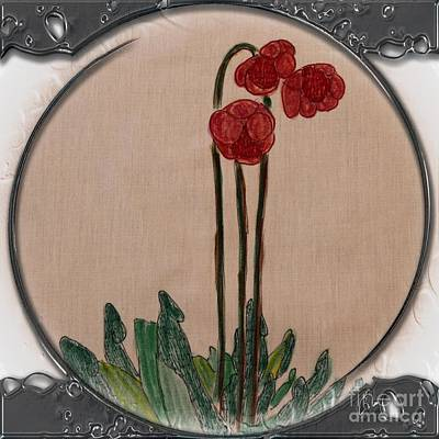 Newfoundland Quilt Drawing - Newfoundland Pitcher Plant - Porthole Vignette by Barbara Griffin