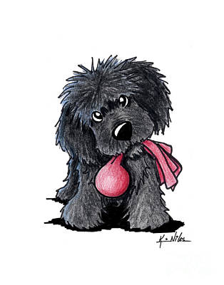 Cute Puppy Drawing - Newfoundland Puppy by Kim Niles
