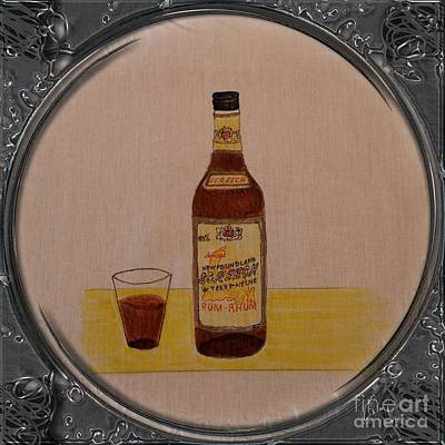 Glass Bottle Drawing - Newfoundland Screech Rum - Porthole Vignette by Barbara Griffin