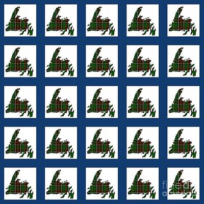 Newfoundland Quilt Photograph - Newfoundland Tartan Map Blocks Blue Trim by Barbara Griffin