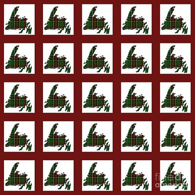 Newfoundland Quilt Photograph - Newfoundland Tartan Map Blocks Red Trim by Barbara Griffin