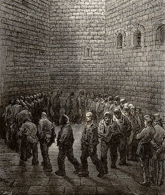 Punishment Drawing - Newgate Prison Exercise Yard by Gustave Dore