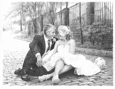 Newlyweds On Cobblestones Pencil Portrait Art Print