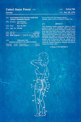 Newmar Pantyhose Patent Art 1975 Blueprint Art Print by Ian Monk