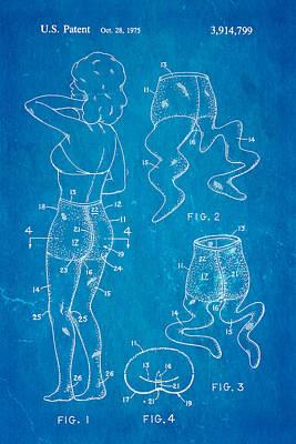 1975 Photograph - Newmar Pantyhose Patent Art 2 1975 Blueprint by Ian Monk