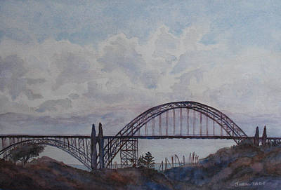 Yaquina Bay Bridge Painting - Newport Bay Bridge I by Jenny Armitage