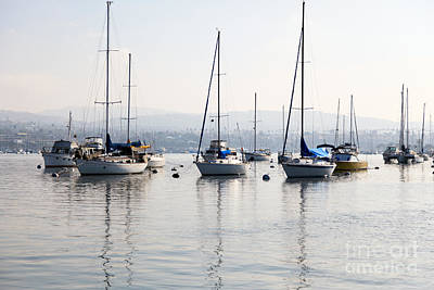 Sailboat Photograph - Newport Beach Bay Harbor California by Paul Velgos