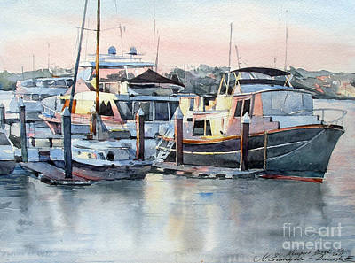 Watercolor Painting - Newport Beach - California by Natalia Eremeyeva Duarte