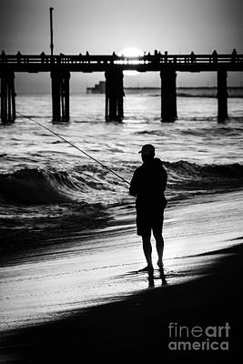 Newport Beach California  Sunset Fishing Picture Art Print by Paul Velgos