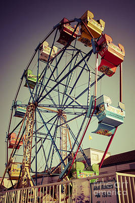Newport Beach Ferris Wheel In Balboa Fun Zone Photo Art Print by Paul Velgos