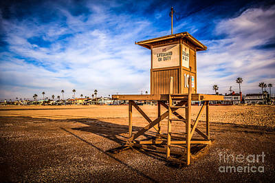 Orange Photograph - Newport Beach Lifeguard Tower 10 Hdr Photo by Paul Velgos