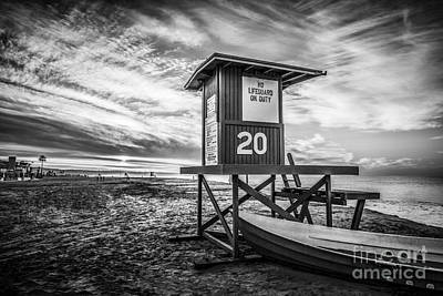 Shack Photograph - Newport Beach Lifeguard Tower 20 Black And White Photo by Paul Velgos