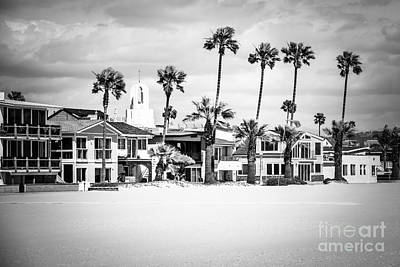 Newport Beach Oceanfront Homes Black And White Picture Art Print