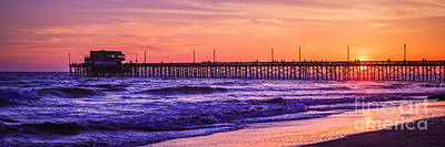 Southern California Sunset Beach Photograph - Newport Beach Pier Sunset Panorama Photo by Paul Velgos