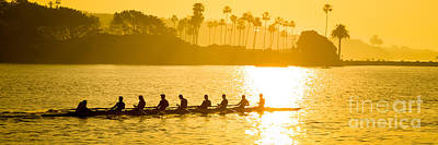 Newport Beach Rowing Crew Panorama Photo Art Print