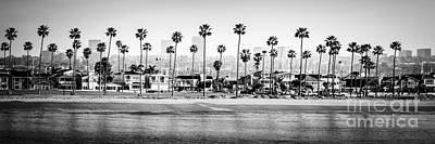 Beachfront Photograph - Newport Beach Skyline Panorama Photo In Black And White by Paul Velgos