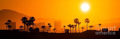 Southern California Sunset Beach Photograph - Newport Beach Skyline Sunrise Panorama Photo by Paul Velgos