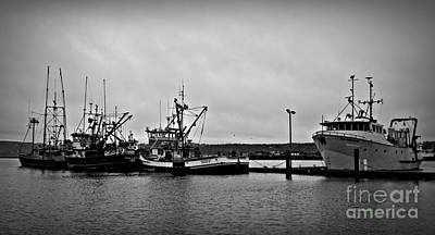 Photograph - Newport Fishing Boats  Bw by Chalet Roome-Rigdon