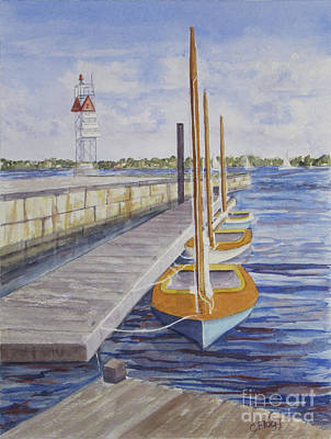 Art Print featuring the painting Newport Boats In Waiting by Carol Flagg