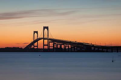 Photograph - Newport Bridge Sunset by Joshua McDonough