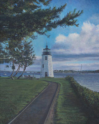 Painting - Newport Harbor Light On Goat Island by David P Zippi