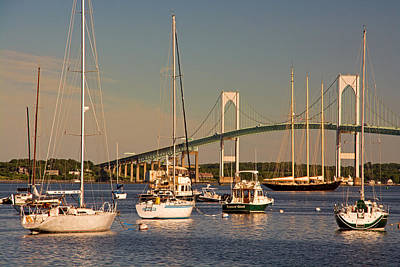 Newport Harbor With Pell Bridge Art Print