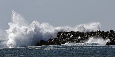 Photograph - Newport Oregon Crashing Wave by Wes and Dotty Weber