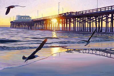 Newport Pier Sunset Art Print by Steve Simon