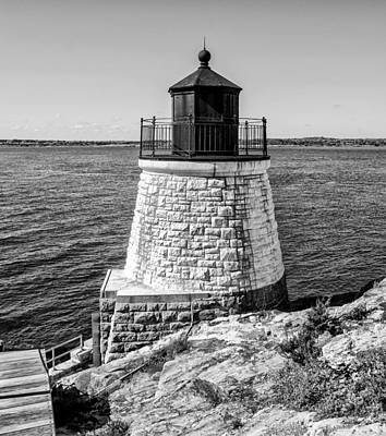 Lighthouse Digital Art - Newport Ri - Castle Hill Lighthouse In Black And White by Bill Cannon