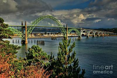 Yaquina Bay Bridge Photograph - Newport Yaquina Bridge by Adam Jewell