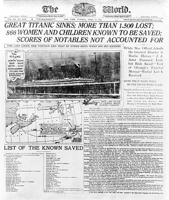 Liner Photograph - News Report On Titanic Disaster by Library Of Congress