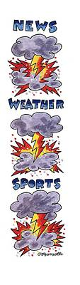 Lightning Drawing - News Weather Sports by Charles Barsotti