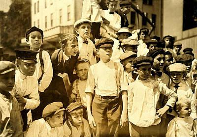 Digital Art - Newsboys Cincinnati 1908 by Unknown