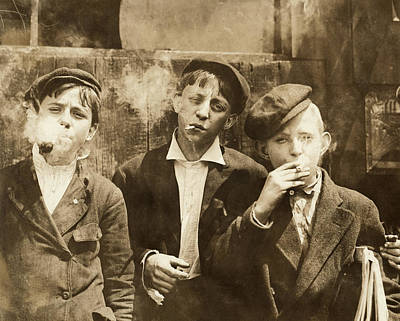Photograph - Newsboys Smoking, 1910 by Granger