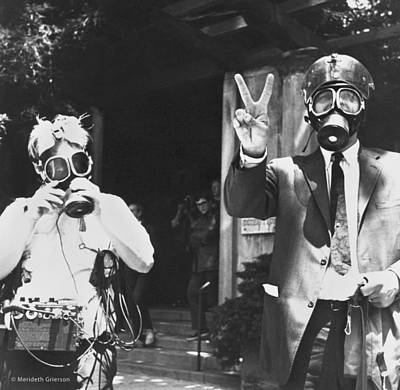 Obscured Face Photograph - Newsmen Ready For Tear Gas by Underwood Archives Grierson