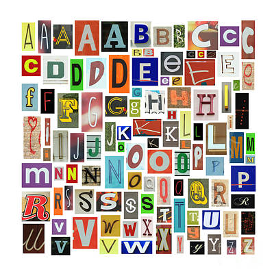 Magazine Letters Photograph - Newspaper Alphabet by Isabel Poulin