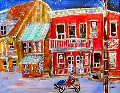 Canadiens Sweaters Painting - Newspaper Delivery by Michael Litvack