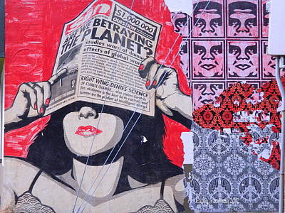 Shepard Fairey Graffiti Andre The Giant And His Posse Wall Mural Art Print by Kathy Barney