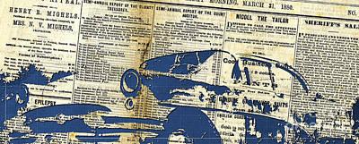 Landscape Newspaper Old Crashed Car Collage Print by Pablo Franchi