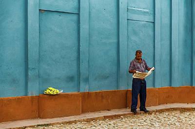 Newspaper Reading Banana Seller Art Print