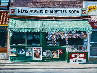 Marlboro Painting - Newspaper Stand West Village Nyc by Anthony Butera