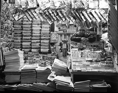 Art Print featuring the photograph Newsstand And Vendor by Dave Beckerman