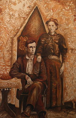 Painting - Newt And Hattie Barham by Marvin Barham