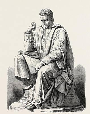 Newton Drawing - Newton Meditating On The Law Of Gravitation J by English School