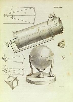 Newton On Telescopes Art Print by Middle Temple Library