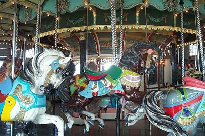 Carousel Pony Photograph - Next In Line At Paragon Park by Barbara McDevitt
