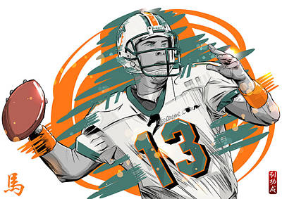 Nfl Legends Dan Marino Miami Dolphins Art Print